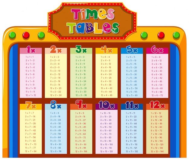 カラフルな背景のタイムテーブルの表 無料ベクター