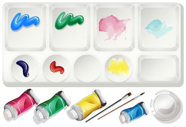 水彩絵の具とブラシで設定 無料ベクター