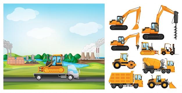 道路上のトラックと多くの種類のトラックのシーン 無料ベクター