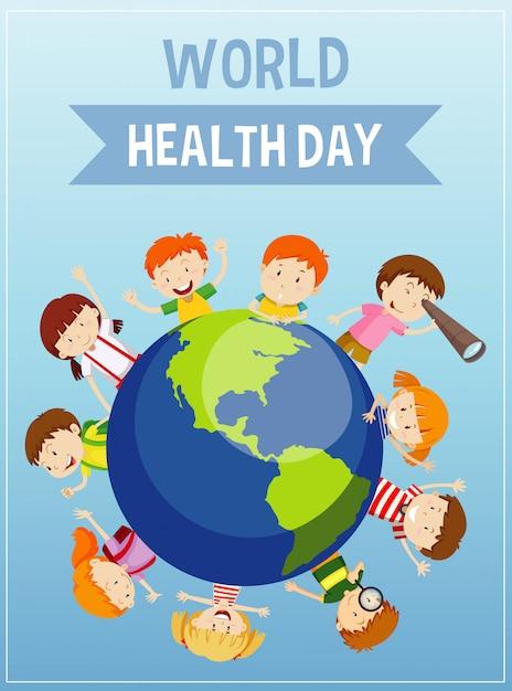 Плакат ко дню матери-земли со счастливыми детьми на земле Бесплатные векторы