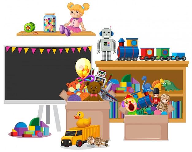 Полка с книгами и игрушками на белом фоне Бесплатные векторы