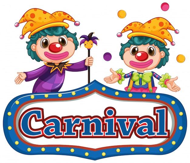 Карнавальный знак с двумя веселыми клоунами Premium векторы