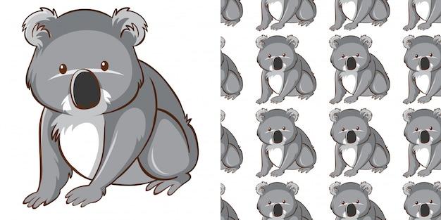 シームレスパターンかわいいコアラをデザインします。 無料ベクター