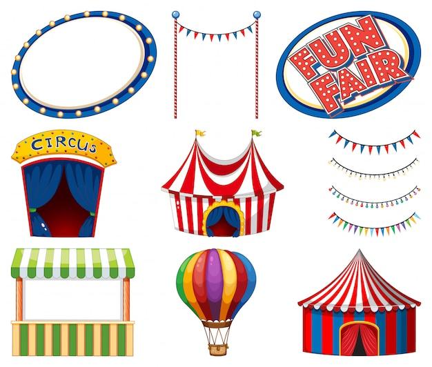 Набор цирковых шатров и вывесок Бесплатные векторы