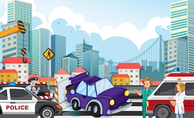 高速道路図に自動車事故と事故シーン 無料ベクター