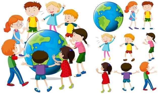 地球の子供たち 無料ベクター