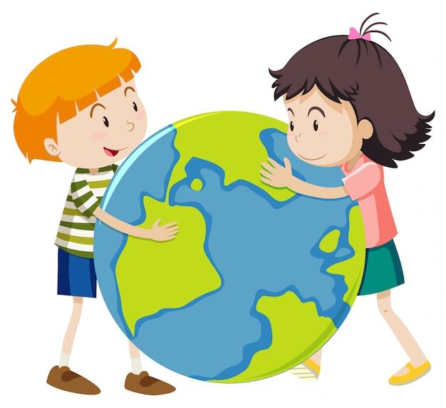 Счастливый мальчик и девочка, обнимая большой мир на белом фоне Бесплатные векторы
