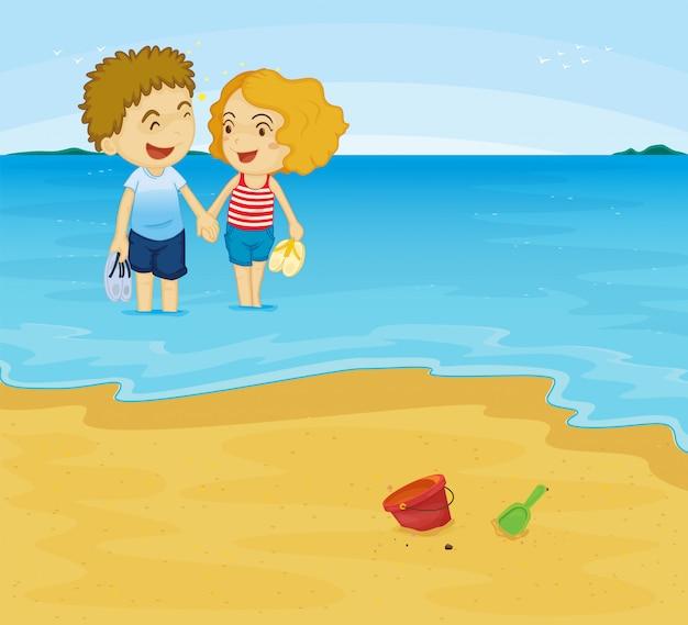 Романтическая пара на пляже Бесплатные векторы