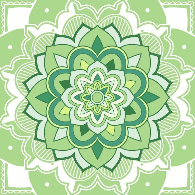 Цветочная зеленая мандала на белом Бесплатные векторы