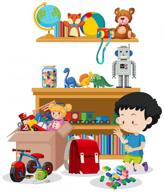 Сцена с мальчиком, играющим в игрушки в комнате Бесплатные векторы