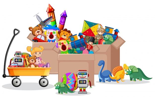 Полка и ящик с игрушками на белом Бесплатные векторы