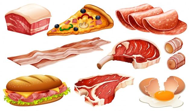 さまざまな肉製品のセット 無料ベクター