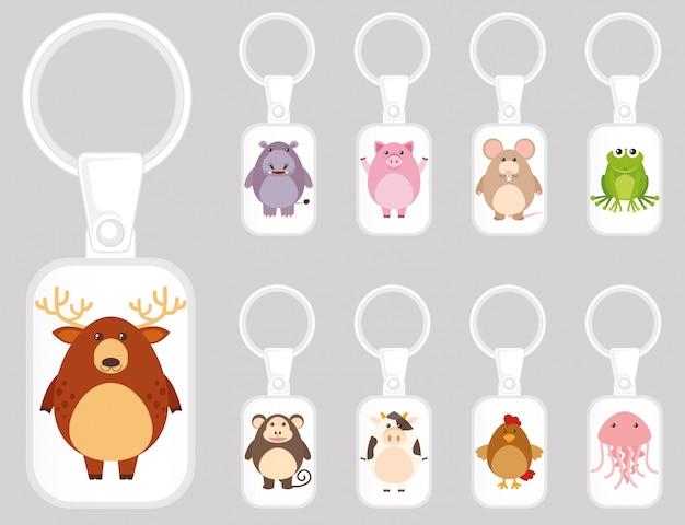 Брелок дизайн шаблона со многими видами животных Бесплатные векторы