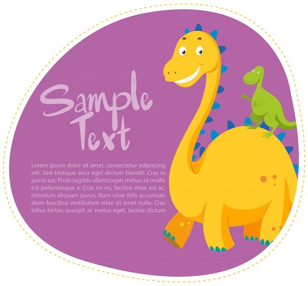 Граничный дизайн с двумя динозаврами Бесплатные векторы