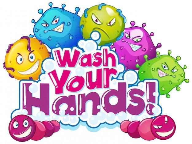 Фраза дизайн для мытья рук с множеством вирусных клеток Бесплатные векторы