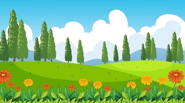 丘の上に花と自然シーンの背景 無料ベクター