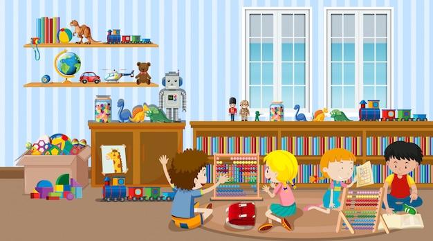 教室で子供たちがたくさんいるシーン 無料ベクター
