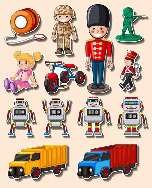 異なるおもちゃとトラックのステッカーデザイン Premiumベクター