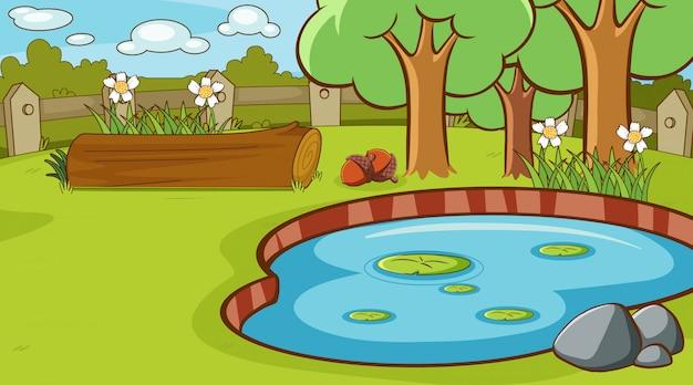 公園内の小さな池のあるシーン 無料ベクター
