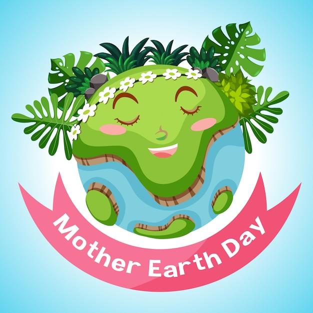 バックグラウンドで地球を笑顔で母なる地球の日のポスターデザイン 無料ベクター