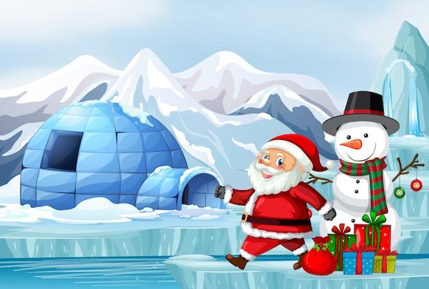 クリスマスにサンタと雪だるまのシーン 無料ベクター