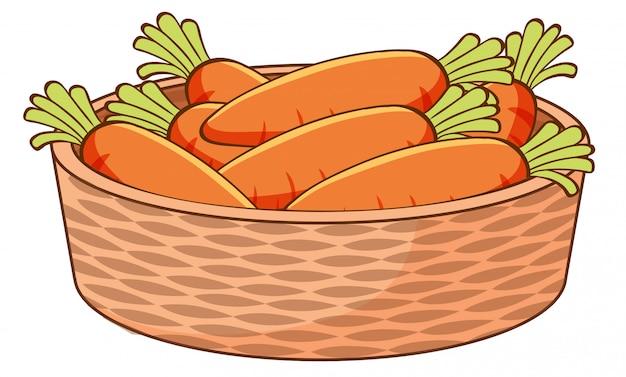 Корзина из моркови на белом фоне Бесплатные векторы