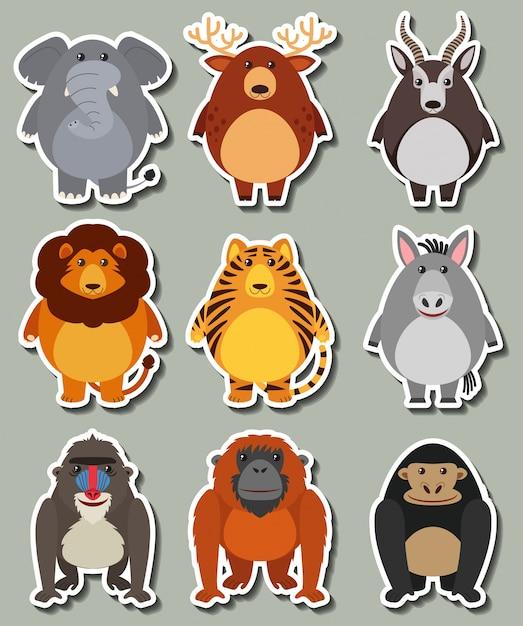多くの野生動物のステッカーデザイン 無料ベクター