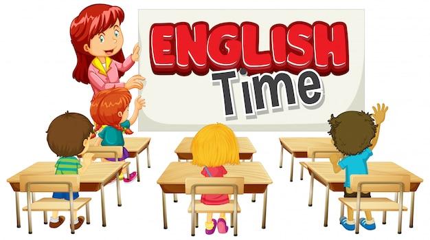 Дизайн шрифтов для английского времени слова с учителем и учениками в классе Бесплатные векторы