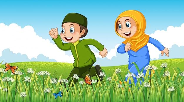 イスラム教徒の少年と庭で走っている少女と自然シーンの背景 Premiumベクター