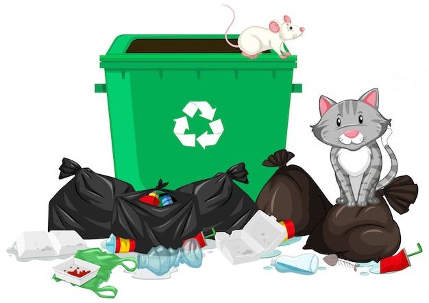 ゴミ箱で猫とネズミのいるシーン 無料ベクター
