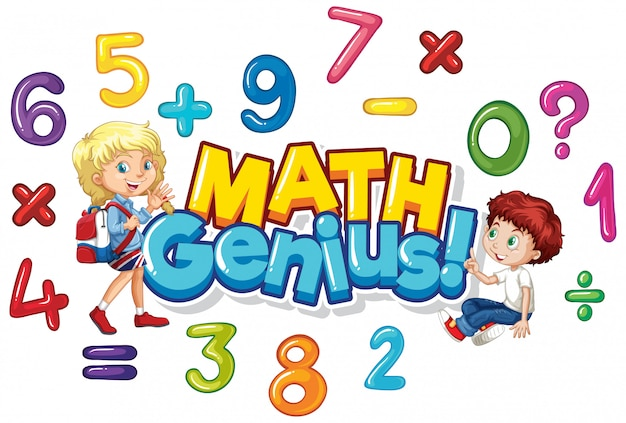 Дизайн шрифта для слова гения математики со счастливыми детьми Бесплатные векторы
