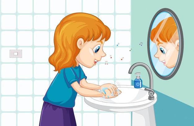 流しで手を洗う少女 無料ベクター