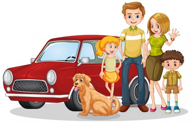 Счастливая семья перед машиной Бесплатные векторы