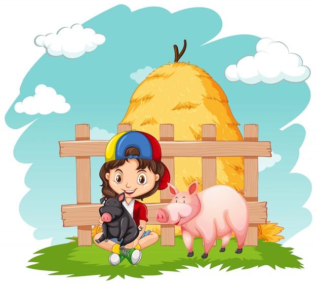 Милая девушка и две свиньи на ферме Бесплатные векторы