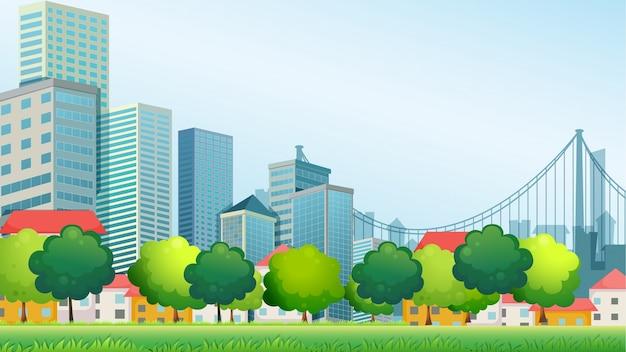 都市の高層ビル Premiumベクター