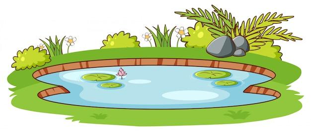 白い背景の上の緑の草と小さな池 無料ベクター