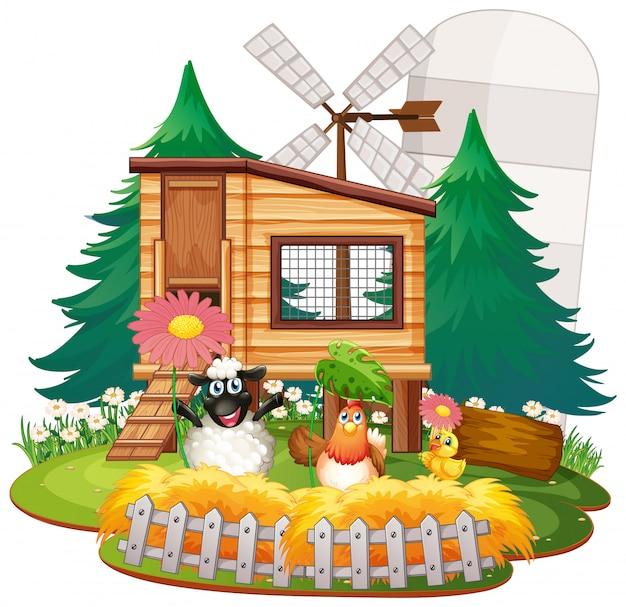 Ферма тема фон с сельскохозяйственными животными Бесплатные векторы