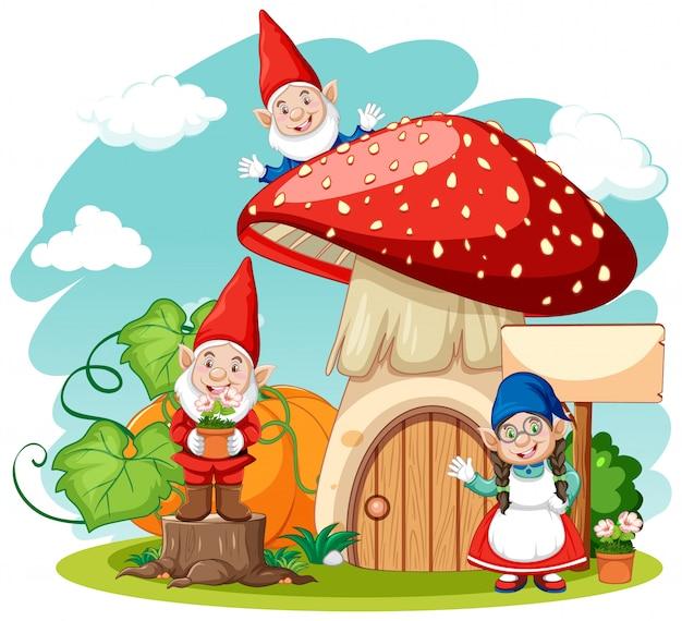 Гномы и грибной дом мультяшном стиле на белом фоне Premium векторы