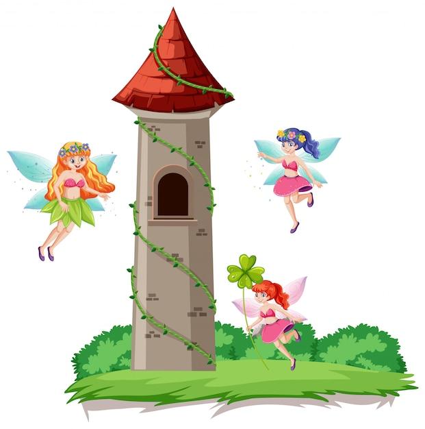 Сказки и замковая башня мультяшном стиле на белом фоне Бесплатные векторы