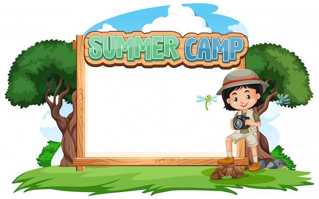 Границы шаблона дизайна с девушкой в летнем лагере Бесплатные векторы