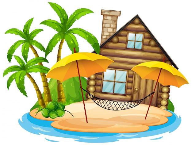白い背景の島に木造の小屋のシーン 無料ベクター