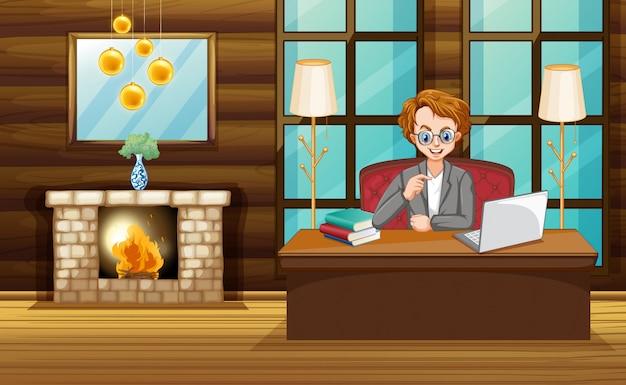 自宅のコンピューターで作業する男性とのシーン 無料ベクター