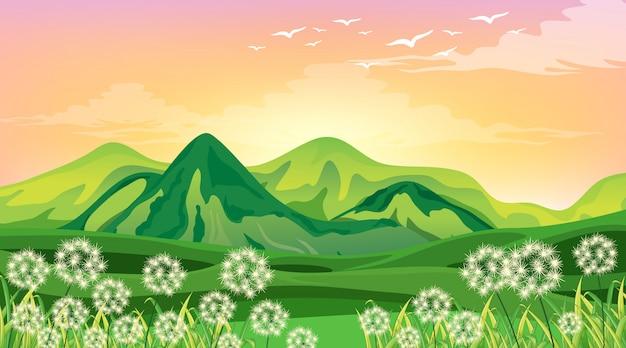 Сцена с зелеными горами и полем на закате Бесплатные векторы