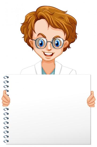 白い背景の上の男性の科学者と空白記号テンプレート 無料ベクター