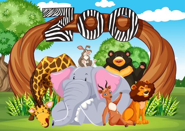 動物園の入り口の看板からの動物のグループ 無料ベクター