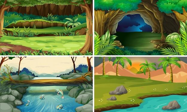 木と川のある四つの森の風景 Premiumベクター