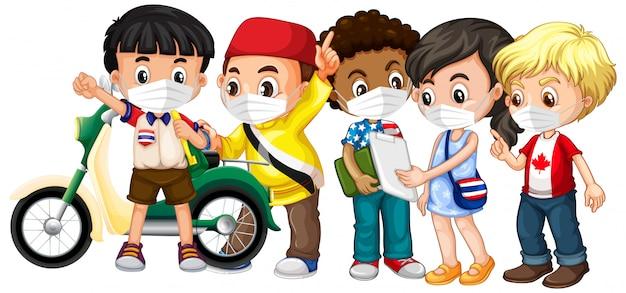 Несколько культур дети носят маску Бесплатные векторы