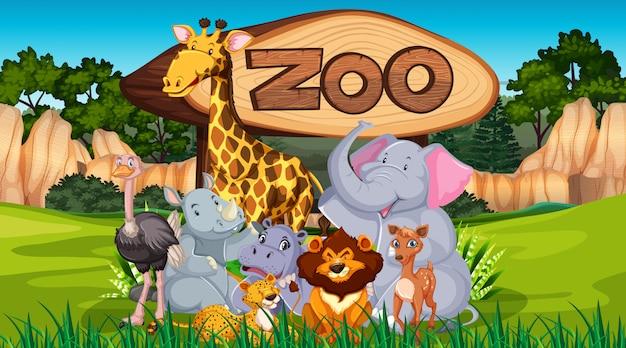 野生の自然の背景の動物園の動物 無料ベクター