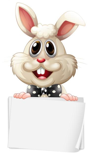 白い背景の上の幸せなウサギと空白記号テンプレート 無料ベクター