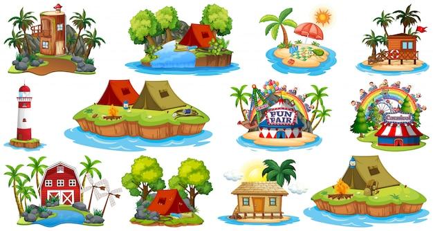 Множество различных бунгало и островной пляжной тематикой и парком развлечений на белом фоне Бесплатные векторы